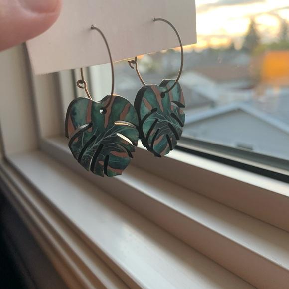 Wooden Monstera Leaf Earrings